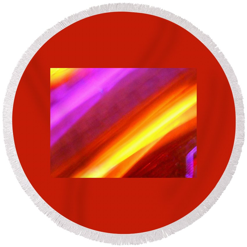 Abstract Round Beach Towel featuring the photograph Electric Light Song by James Welch