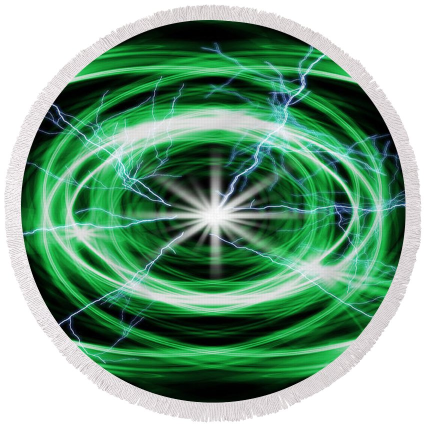 Abstract Round Beach Towel featuring the digital art Electric Strom by Nathan Wright