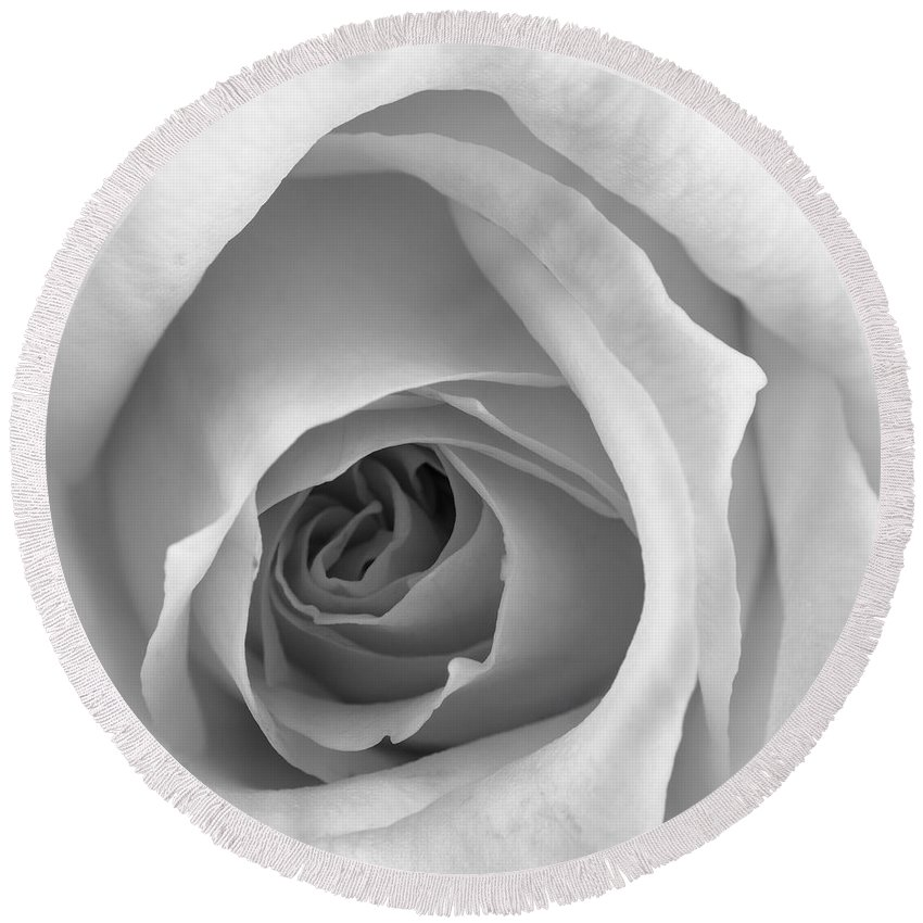 Rose Round Beach Towel featuring the photograph Elegant Rose In Black And White by Vishwanath Bhat