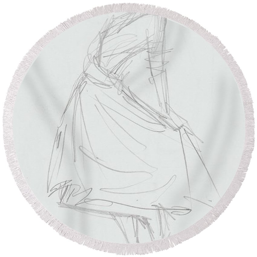 Woman Round Beach Towel featuring the drawing Elegant Woman In Dress Drawing by Mike Jory