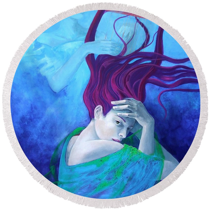 Fantasy Round Beach Towel featuring the painting Elegy by Dorina Costras