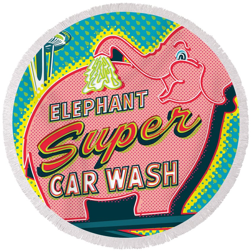 Pop Art Round Beach Towel featuring the digital art Elephant Car Wash And Space Needle - Seattle by Jim Zahniser