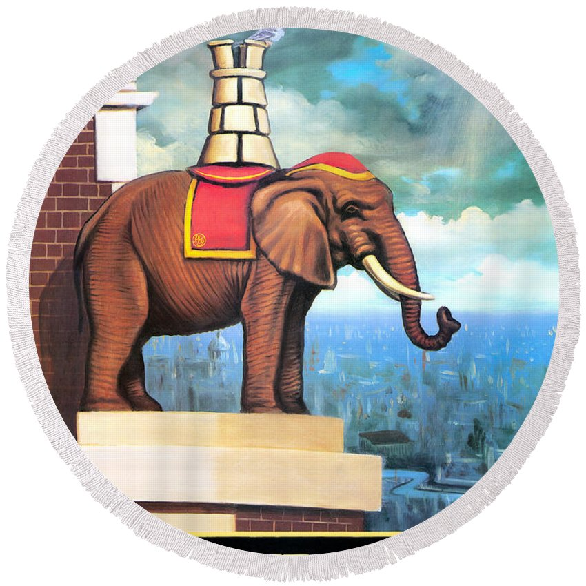 Elephant Castle Round Beach Towel featuring the painting Elephant Castle by Peter Green