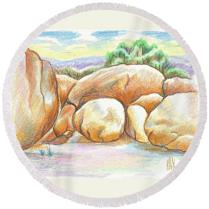 Elephant Rocks State Park Ii No C103 Round Beach Towel featuring the painting Elephant Rocks State Park II No C103 by Kip DeVore