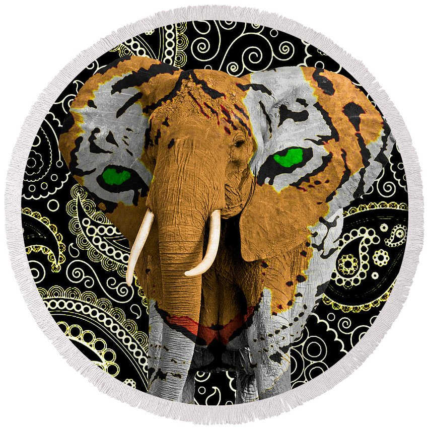 Elephant Round Beach Towel featuring the photograph Elephant Tiger by Gary Keesler
