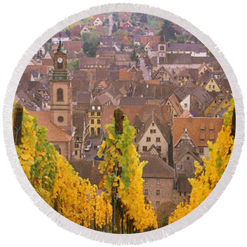 Photography Round Beach Towel featuring the photograph Elevated View Of The Riquewihr by Panoramic Images