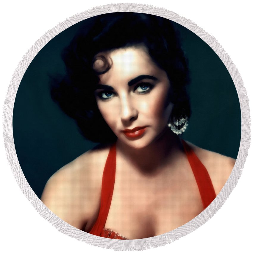Impressionism Round Beach Towel featuring the mixed media Elizabeth Taylor by Georgiana Romanovna
