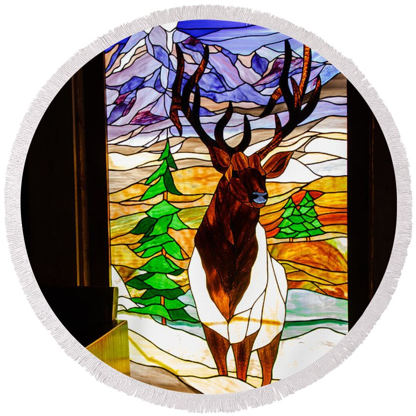 Stanied Glass Window Round Beach Towel featuring the photograph Elk Stained Glass Window by Robert Bales