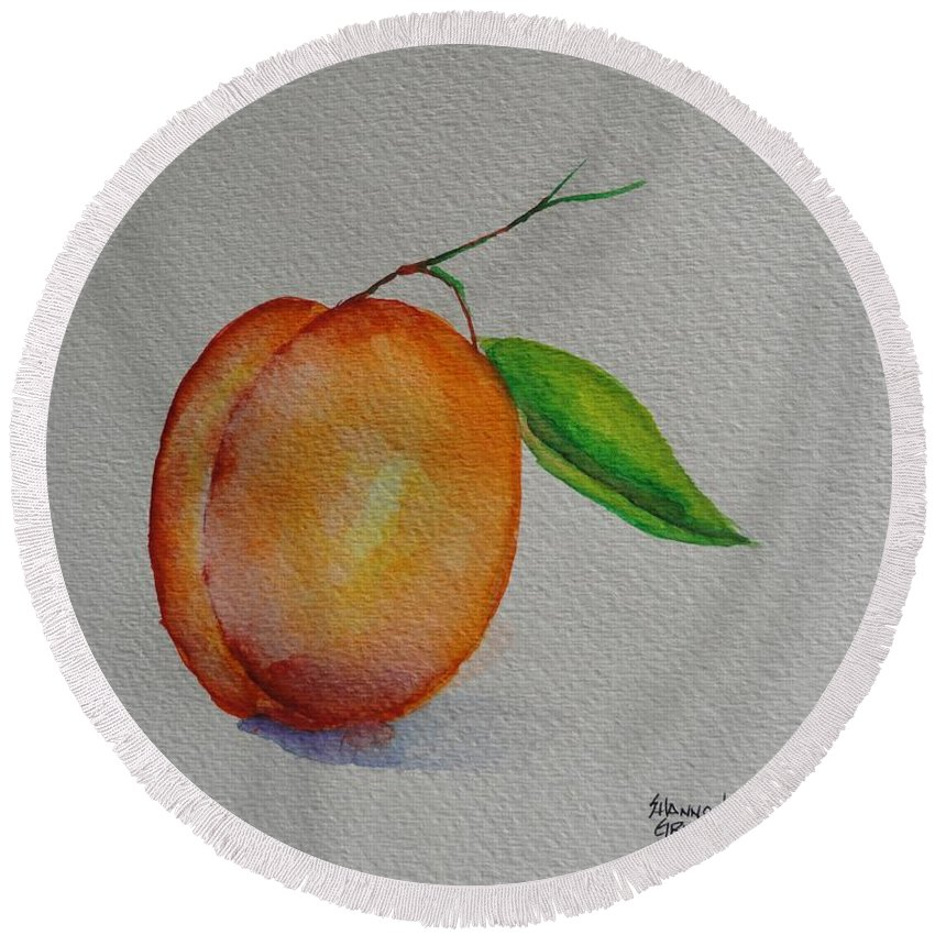 Apricot Round Beach Towel featuring the painting Elsie by Shannon Grissom