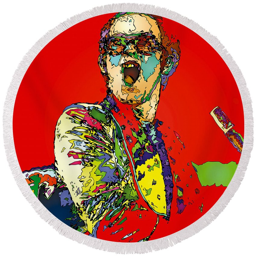 Elton John Round Beach Towel featuring the painting Elton in Red by John Farr