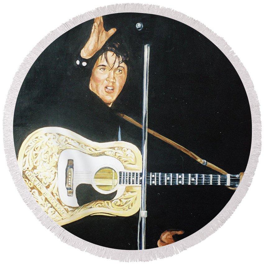 Elvis Presley Round Beach Towel featuring the painting Elvis 1956 by Bryan Bustard