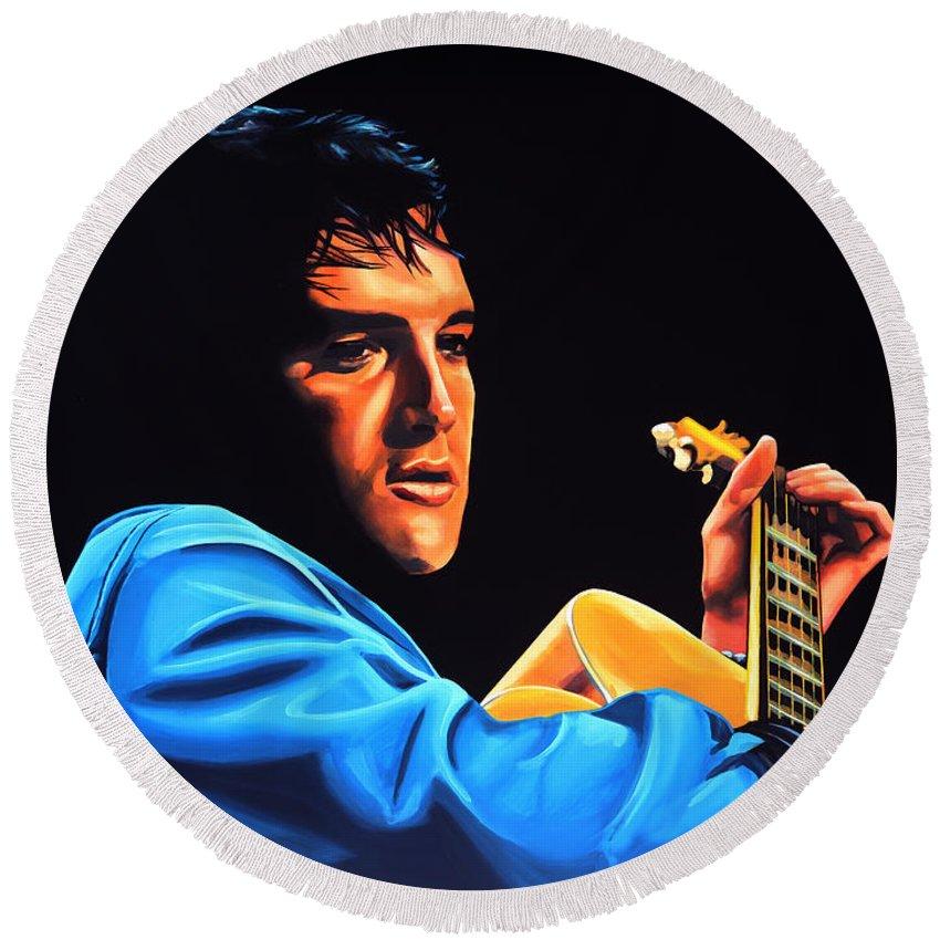 Elvis Round Beach Towel featuring the painting Elvis Presley 2 Painting by Paul Meijering