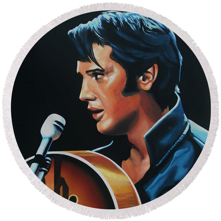 Elvis Round Beach Towel featuring the painting Elvis Presley 3 Painting by Paul Meijering