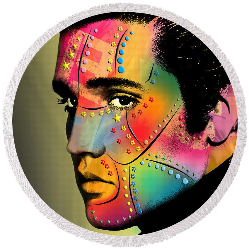 Elvis Presley Round Beach Towels