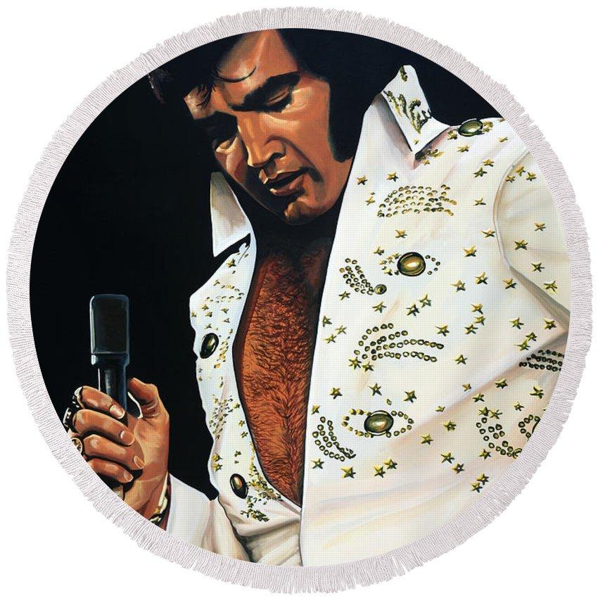 Elvis Round Beach Towel featuring the painting Elvis Presley Painting by Paul Meijering