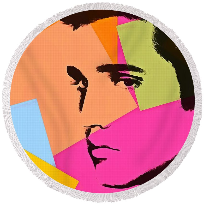 Elvis Presley Pop Art Round Beach Towel featuring the digital art Elvis Presley Pop Art by Dan Sproul