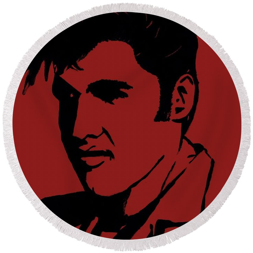 Elvis Round Beach Towel featuring the painting Elvis The King by Saundra Myles
