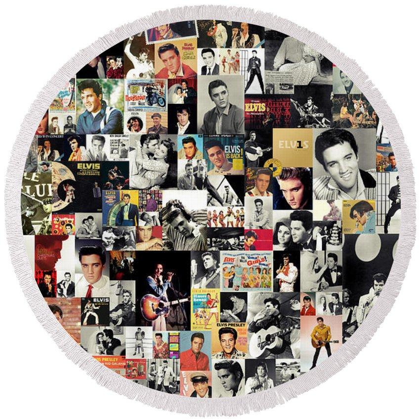 Elvis Presley Round Beach Towel featuring the digital art Elvis The King by Zapista OU