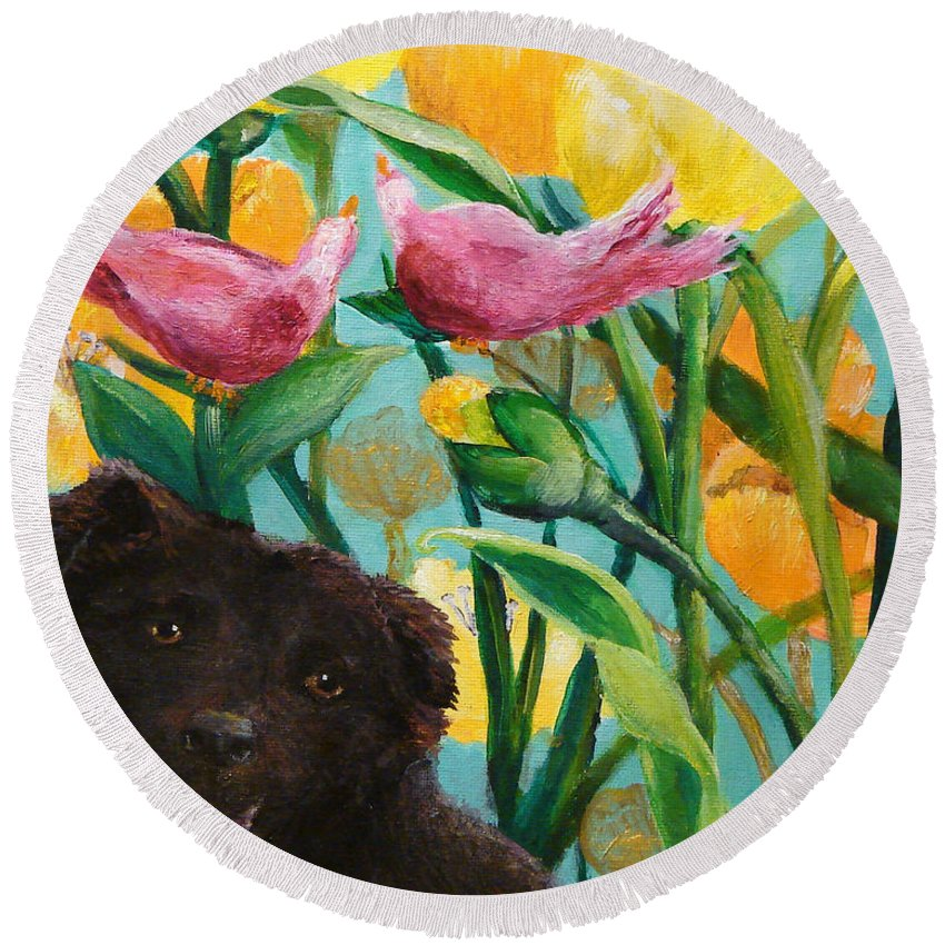 Pet Portrait Round Beach Towel featuring the painting Ely Angel by Ashleigh Dyan Bayer