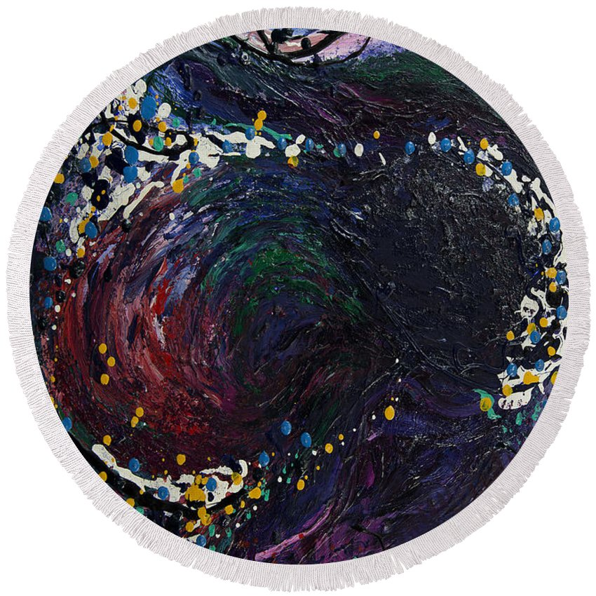 Embraced Swirl Painting Round Beach Towel featuring the painting Embraced Swirl by Doug LaRue