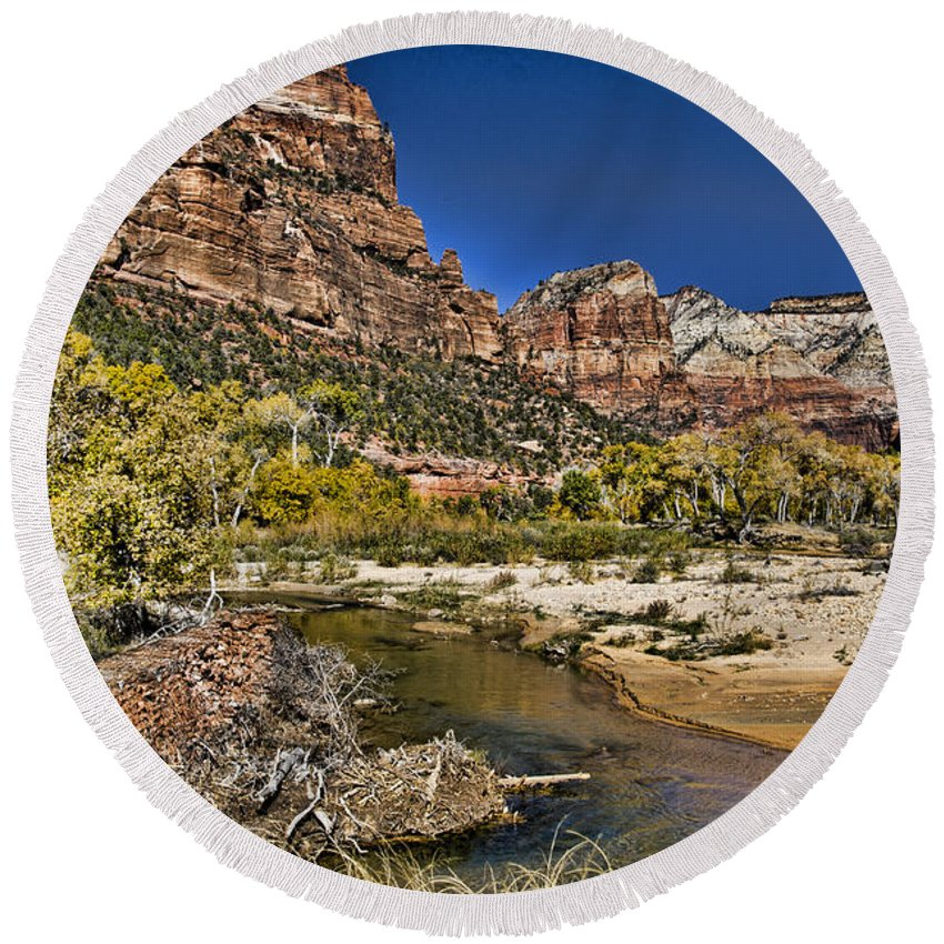 Zion National Park Utah Round Beach Towel featuring the photograph Emeral Pools Trail - Zion by Jon Berghoff