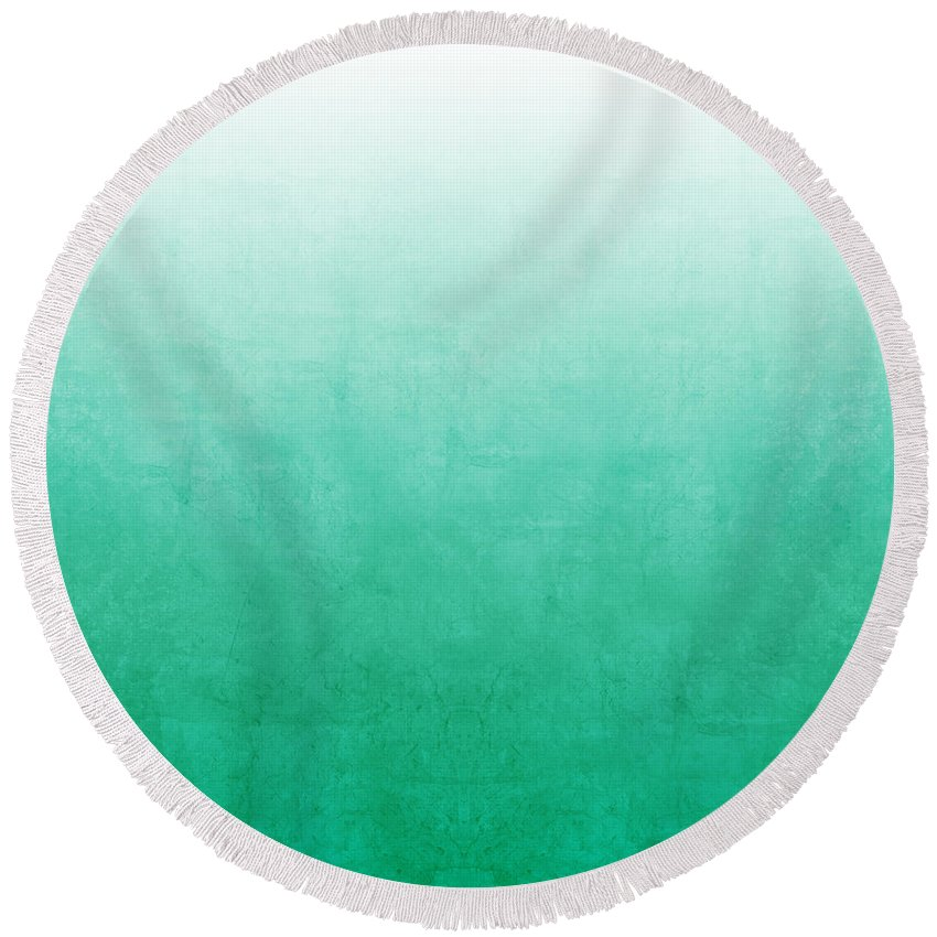 Abstract Round Beach Towel featuring the mixed media Emerald Bay by Linda Woods