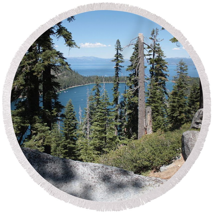 Emerald Bay Round Beach Towel featuring the photograph Emerald Bay Vista by Carol Groenen
