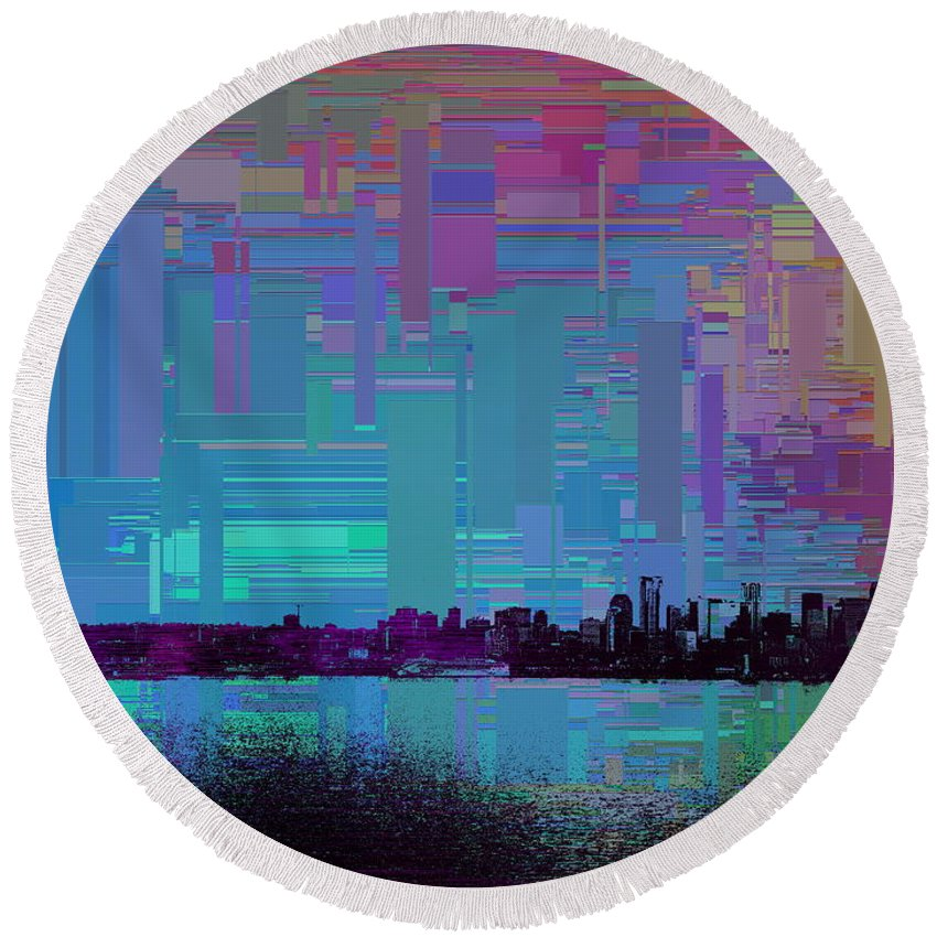 Abstract Round Beach Towel featuring the digital art Emerald City Skyline Cubed by Tim Allen