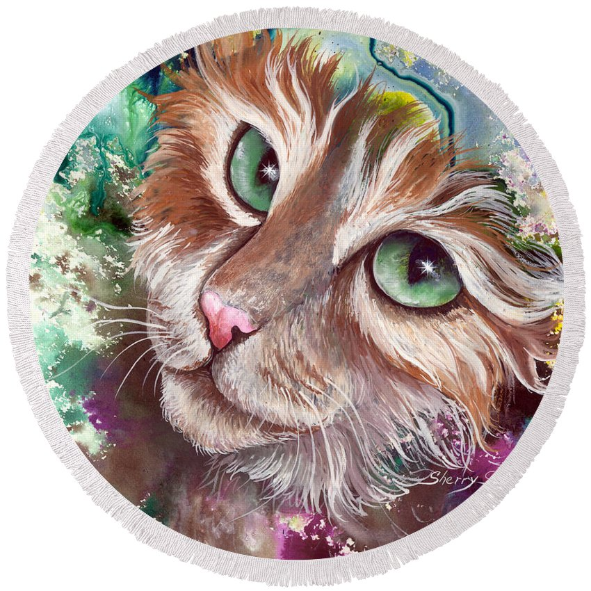 Cat Round Beach Towel featuring the painting Emerald Eyes by Sherry Shipley