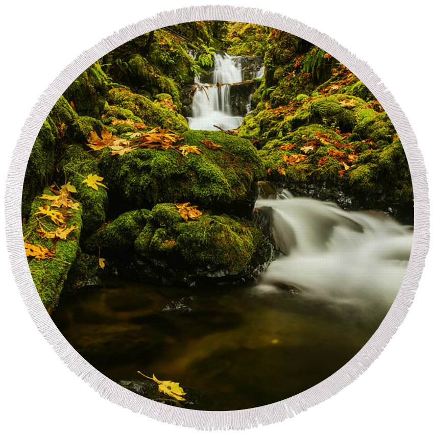 Emerald Falls Round Beach Towel featuring the photograph Emerald Falls In Columbia River Gorge Oregon Usa by Vishwanath Bhat