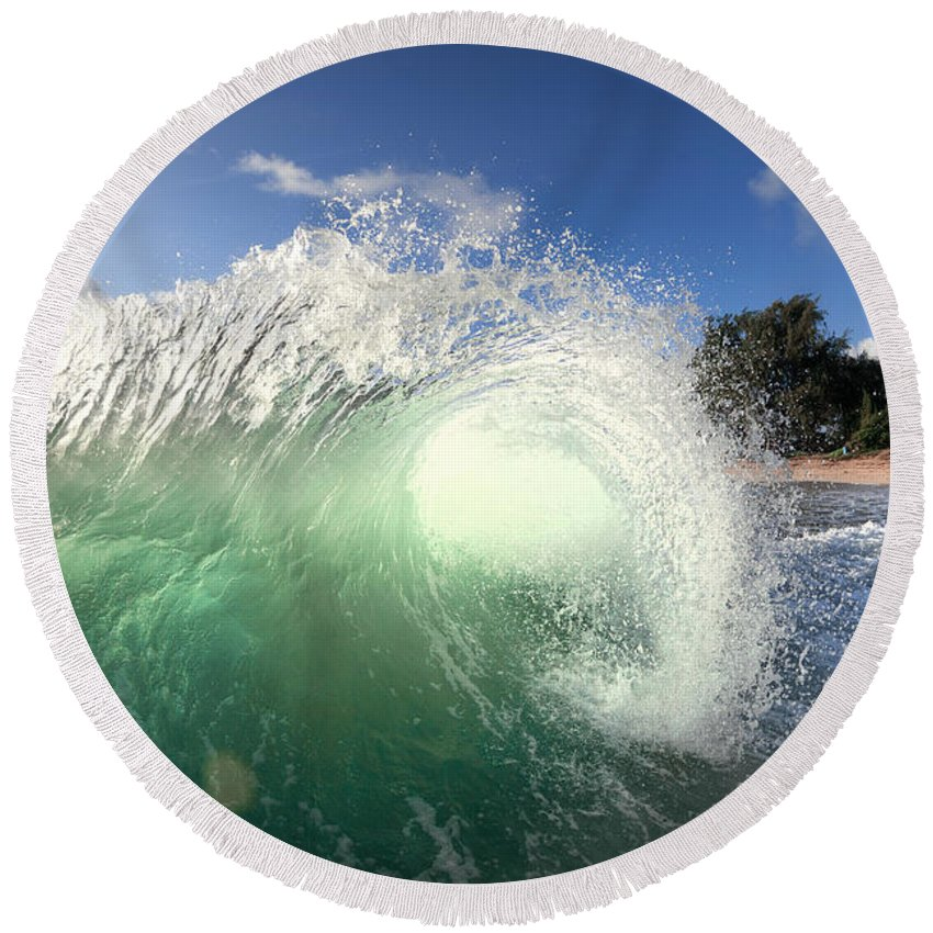 Ocean Energy Round Beach Towel featuring the photograph Emerald Flare by Sean Davey