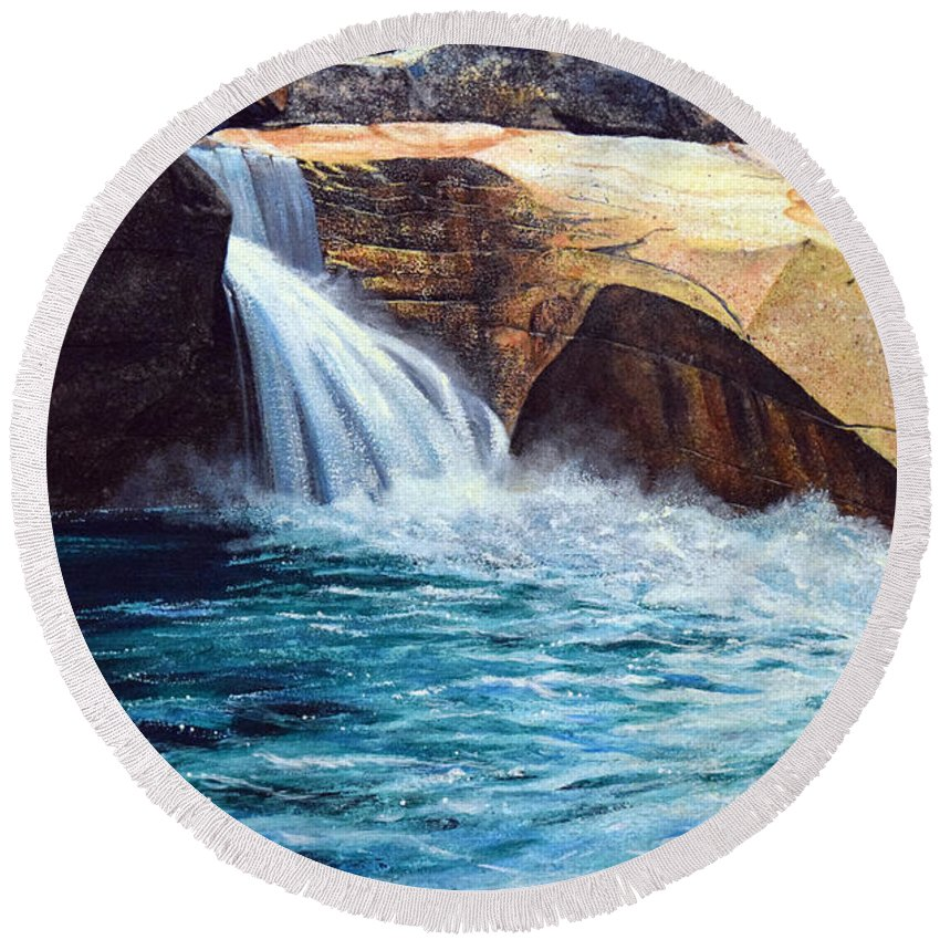 Emerald Pool Round Beach Towel featuring the painting Emerald Pool by Frank Wilson