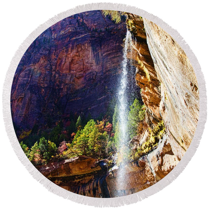 Zion National Park Utah Round Beach Towel featuring the photograph Emerald Pools Trail Waterfall - Zion by Jon Berghoff