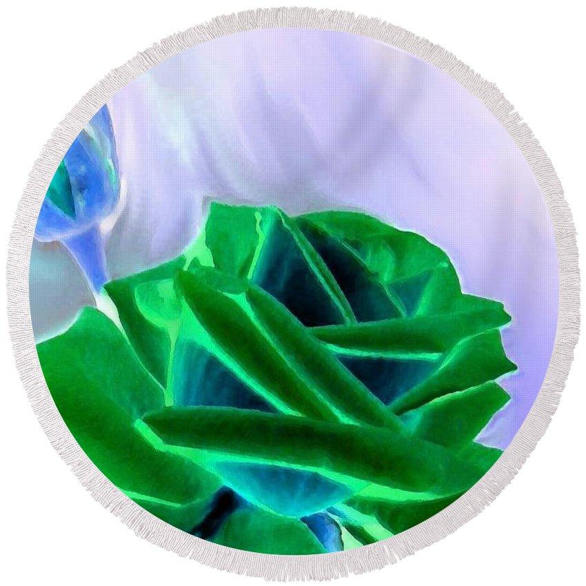 Emerald Rose Watercolor Round Beach Towel featuring the digital art Emerald Rose Watercolor by Will Borden