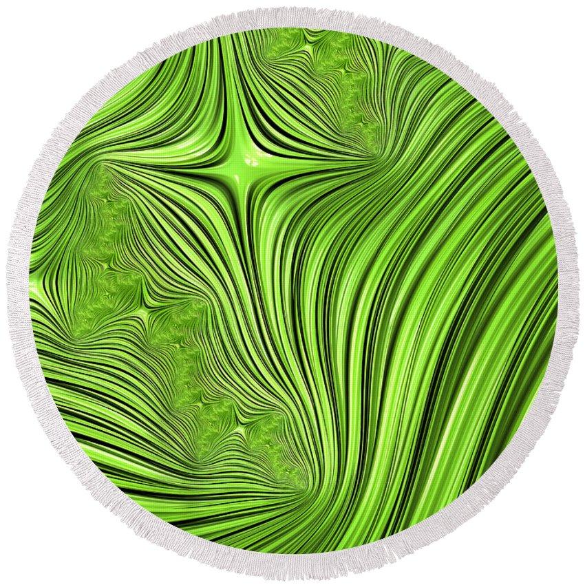 Green Star Abstract Round Beach Towel featuring the digital art Emerald Scream by John Edwards