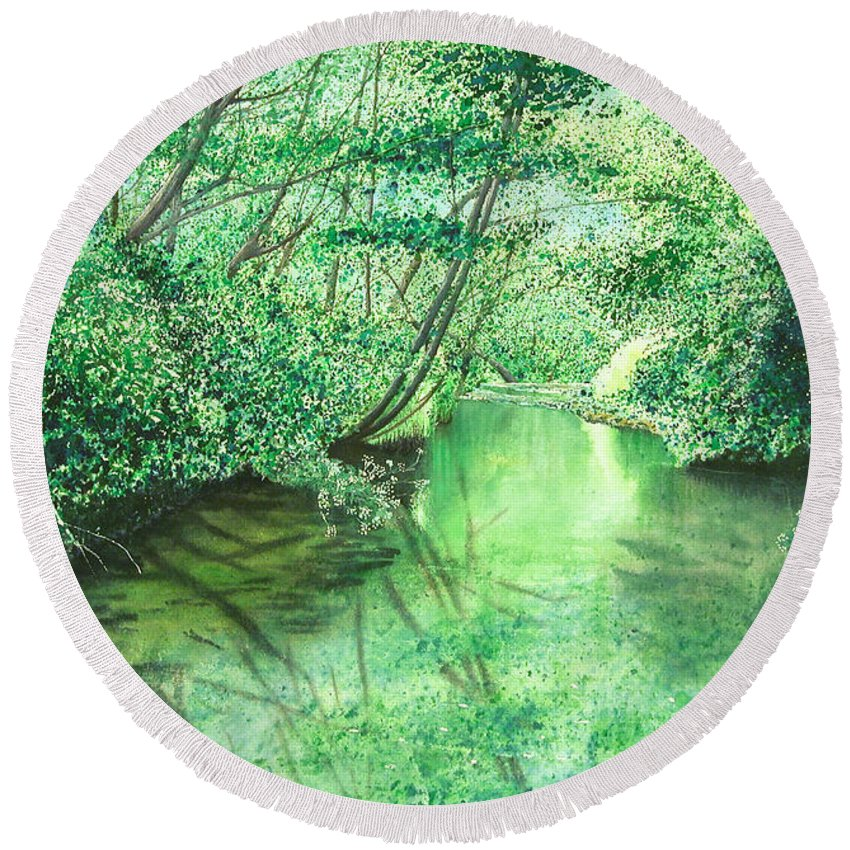 Landscape Round Beach Towel featuring the painting Emerald Stream by Lynn Quinn