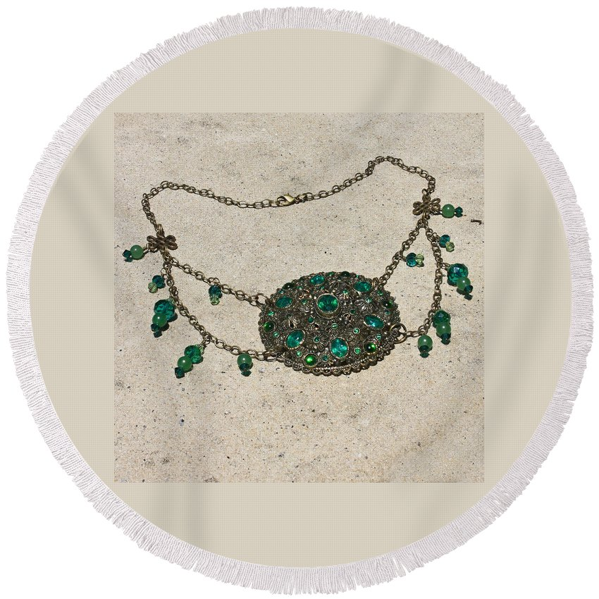 Ooak Round Beach Towel featuring the jewelry Emerald Vintage New England Glass Works Brooch Necklace 3632 by Teresa Mucha