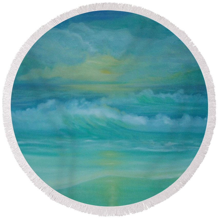 Seascapes Seascape Beach Ocean Waves Shore Coast Green Yellow Blue Clouds Storm Sunrise Sunset Water Sun Summer Round Beach Towel featuring the painting Emerald Waves by Holly Martinson
