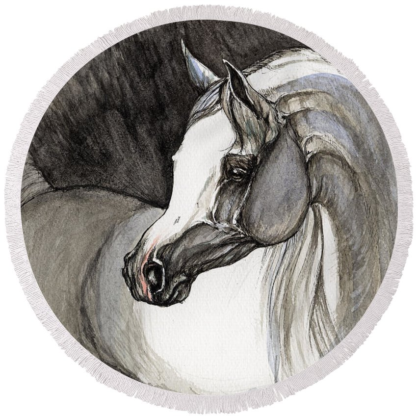 Grey Horse Round Beach Towel featuring the painting Emerging From The Darkness by Angel Ciesniarska