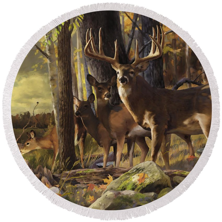 Wall Art Round Beach Towel featuring the painting Eminence At The Forest Edge by Rob Corsetti