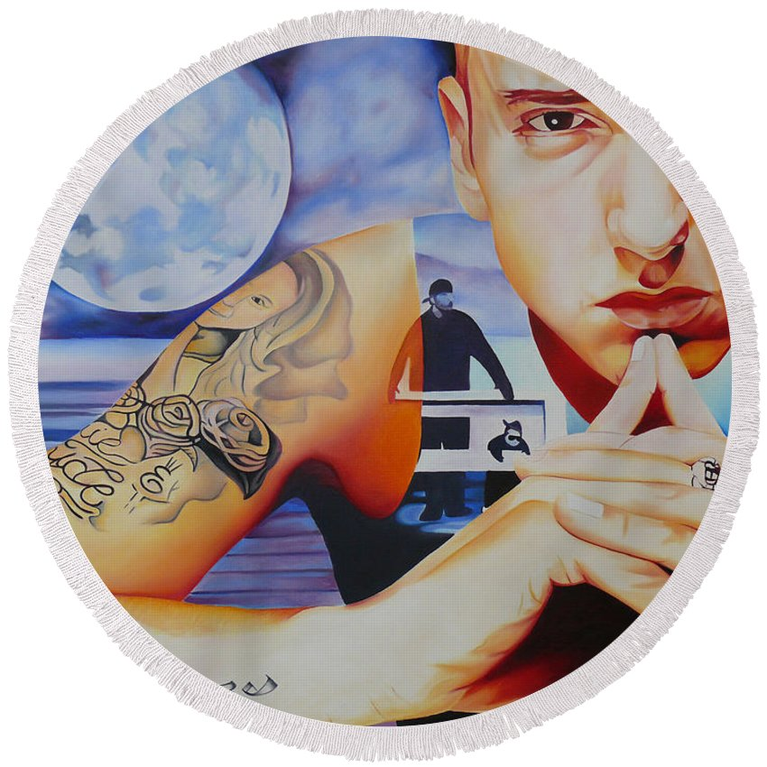 Eminem Round Beach Towel featuring the painting Eminem by Joshua Morton