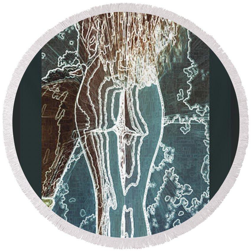 Fragile Round Beach Towel featuring the digital art Emotionally Fragile by Paula Ayers