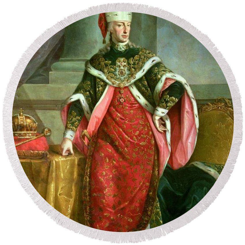 Male Round Beach Towel featuring the photograph Emperor Francis I 1708-65 Holy Roman Emperor, Wearing The Official Robes Of The Order Of St. Stephan by Austrian School