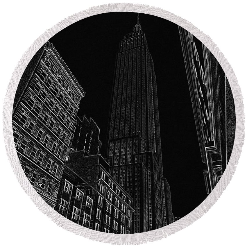 Empire State Building Round Beach Towel featuring the digital art Empire Nyc White On Black by Meandering Photography