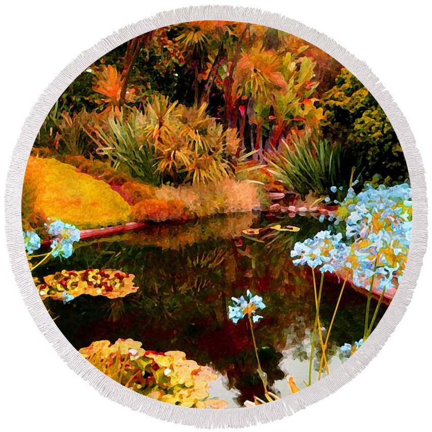 Garden Round Beach Towel featuring the painting Enchaned Blue Lily Pond by Amy Vangsgard