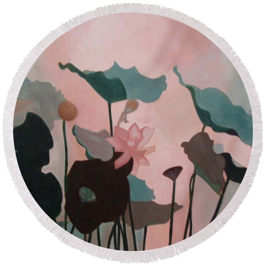 Lilly Round Beach Towel featuring the painting Enchanted Garden by Patricia Brewer-Cummings