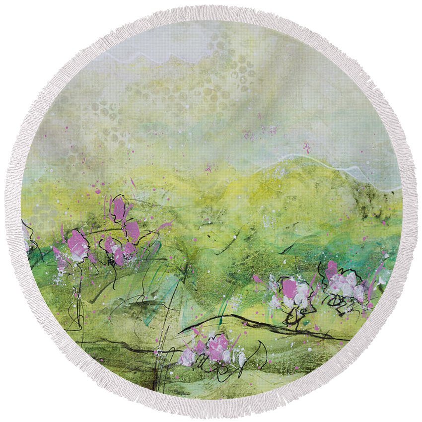 Nature Round Beach Towel featuring the painting Enchanted Meadow by Julie Acquaviva Hayes