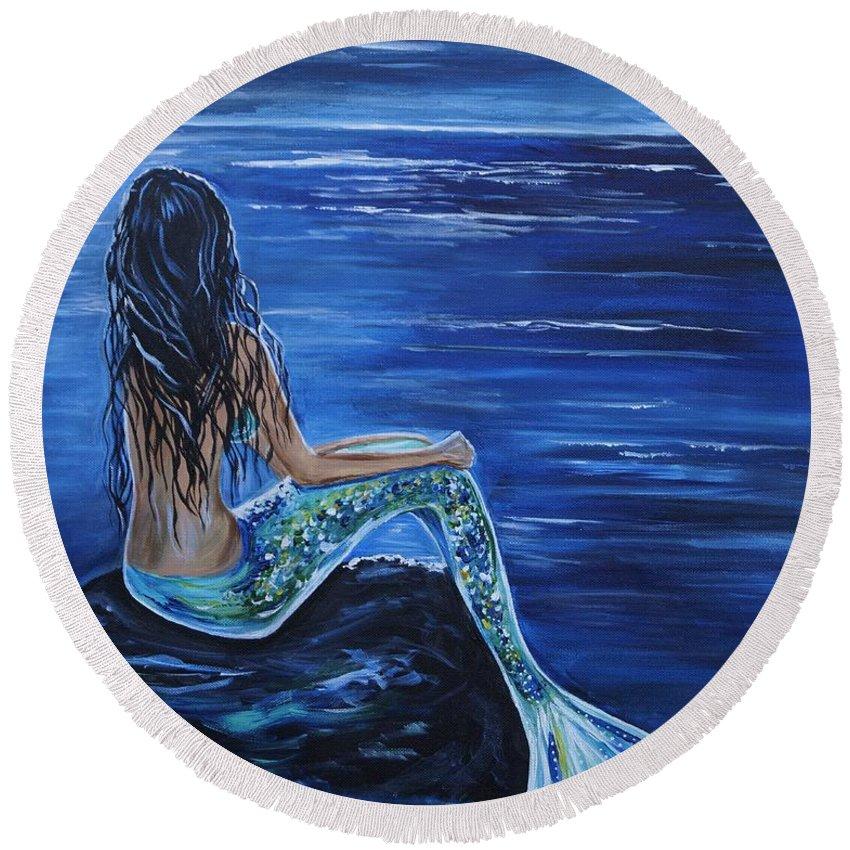 Mermaid Painting Round Beach Towel featuring the painting Enchanting Mermaid by Leslie Allen