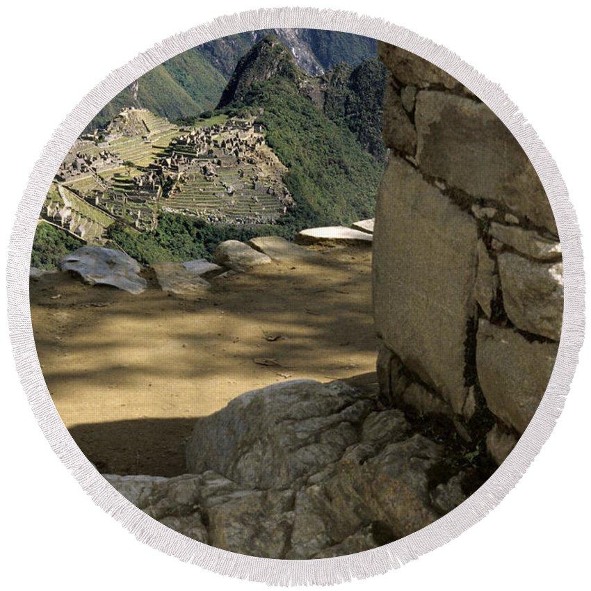 Machu Picchu Round Beach Towel featuring the photograph End Of Inca Trail by Ryan Fox