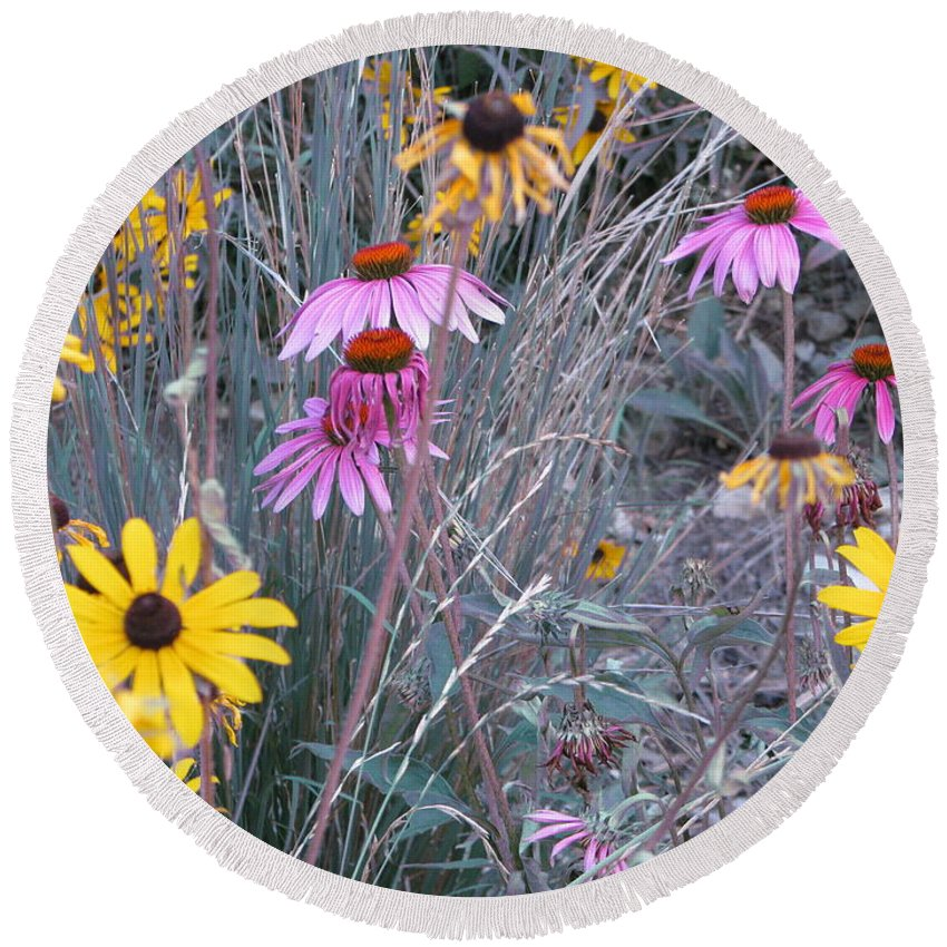 Flowers Round Beach Towel featuring the photograph End Of Summer by Michael Krek
